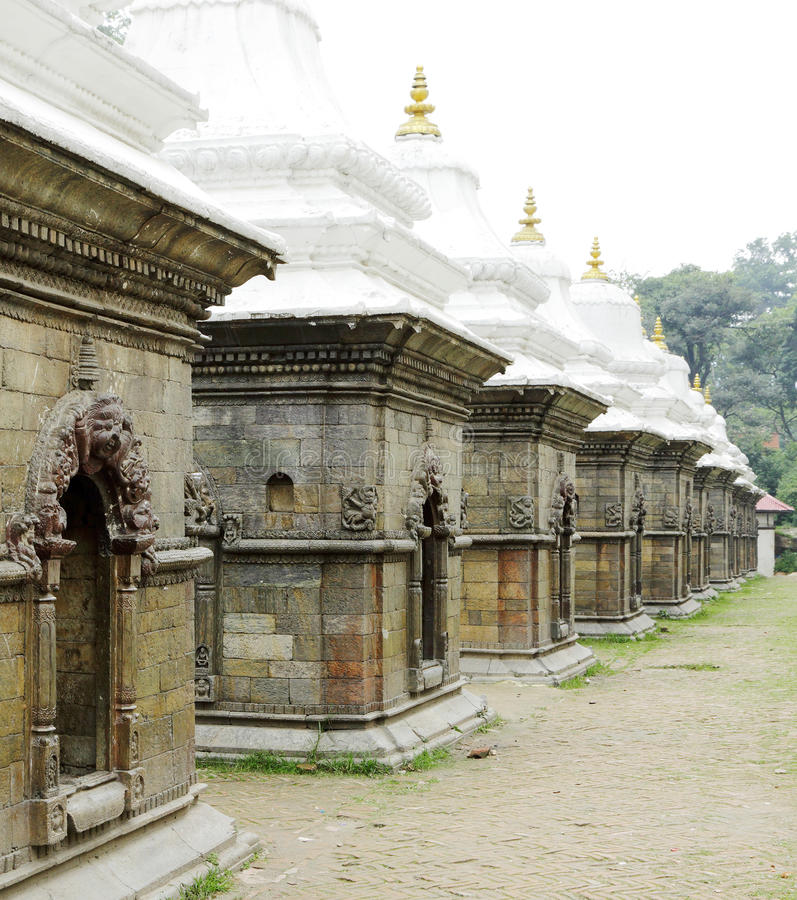 Votive shrines in a row. Sri Pashupatinath Temple located on the banks of the Bagmati River stock photo