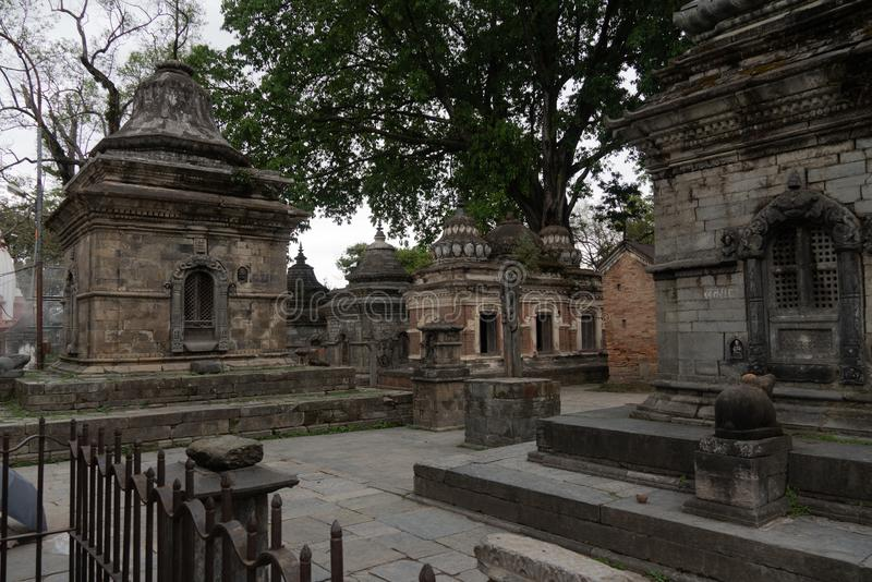 Votive temples and shrines in a row at Pashupatinath Temple royalty free stock photos