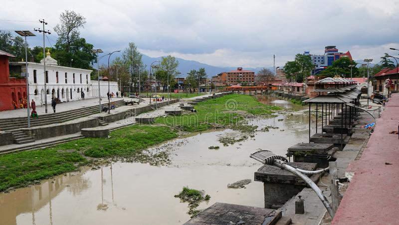 Votive temples and shrines in a row at Pashupatinath Temple royalty free stock images