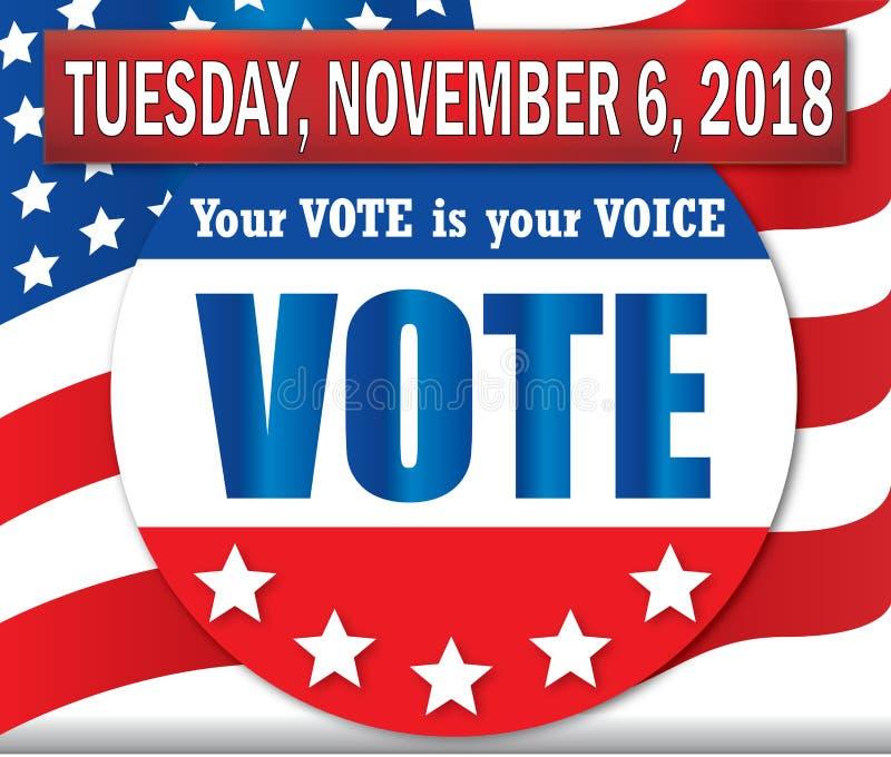 Voto bandera del martes 6 de noviembre de 2018 con la bandera americana libre illustration