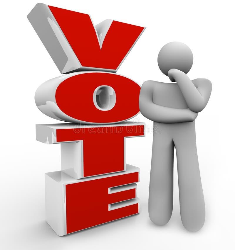 Voto che pensa le opzioni di Person Stands Beside Word Considering royalty illustrazione gratis