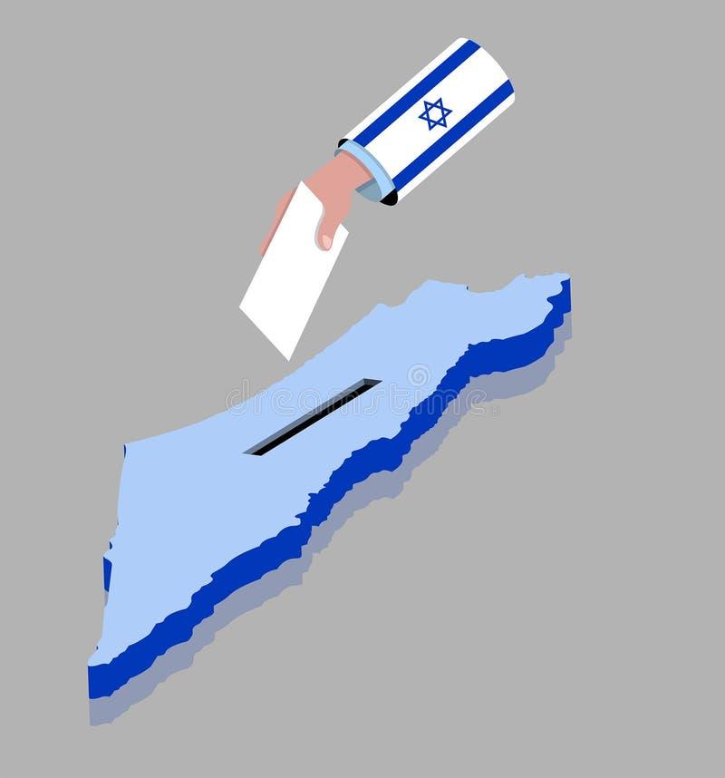 Voto con la mano para la elección israelí sobre un mapa de Israel stock de ilustración