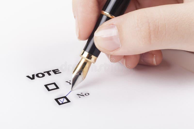 Voto della mano no fotografie stock libere da diritti