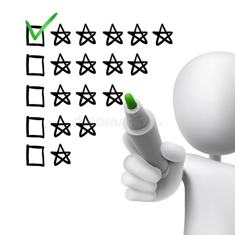 Voto delle cinque stelle dall'uomo 3d illustrazione di stock