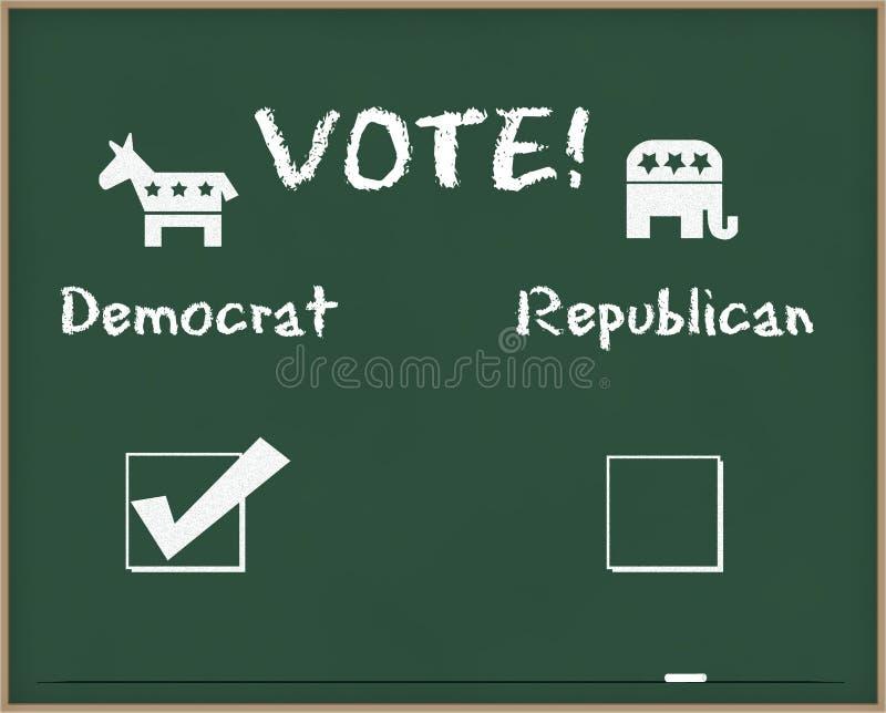 Voto Democrat con símbolos de la elección imágenes de archivo libres de regalías