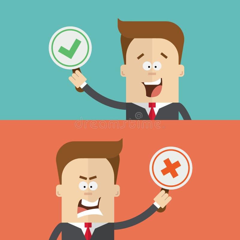 Voto do homem de negócios ou do gerente usando tabuletas a favor e contra falso verdadeiro Homem irritado feliz em um terno de ne ilustração stock