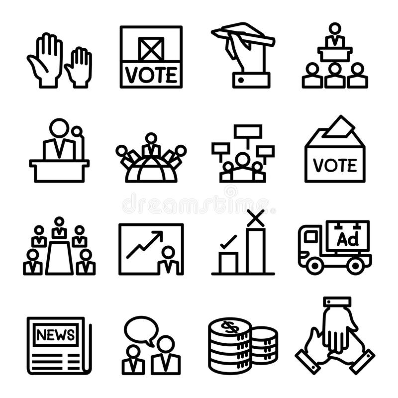 Voto, eleição, grupo do ícone da democracia ilustração royalty free