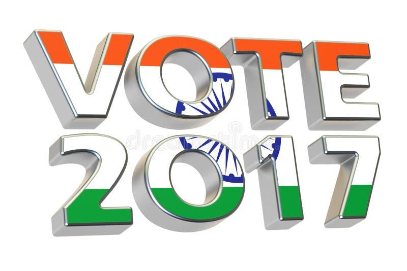 Voto 2017 en la India Concepto indio de la elección, representación 3D stock de ilustración