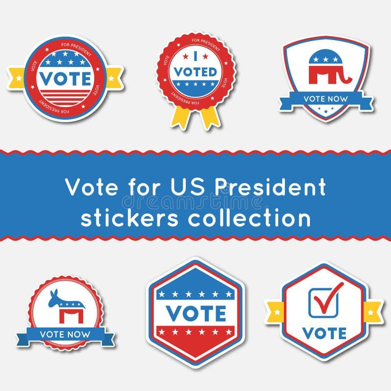 Voto para las etiquetas engomadas del presidente de los E.E.U.U. fijadas stock de ilustración