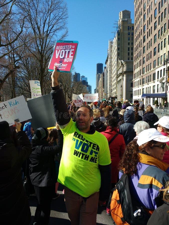 Voto, registro al voto, marzo per le nostre vite, NYC, NY, U.S.A. fotografia stock