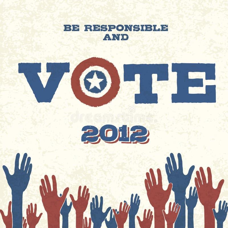 Voto! Retro manifesto illustrazione vettoriale