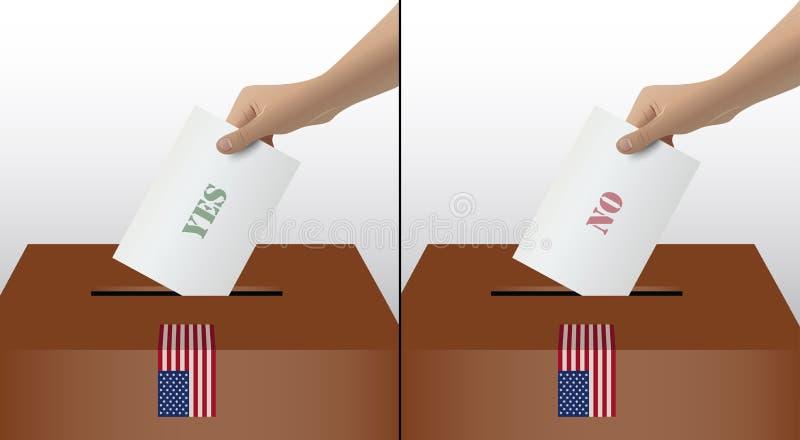 Voto sim ou No ilustração stock