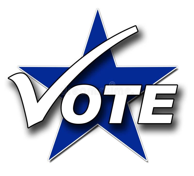 Voto, tiquetaque e estrela ilustração stock