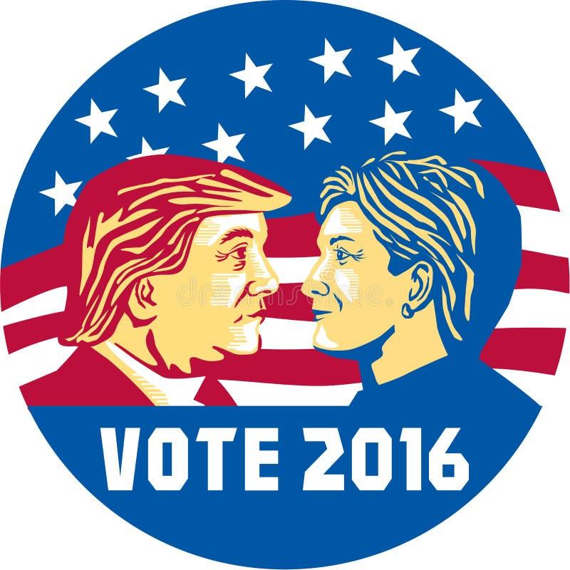 Voto Trump 2016 contro Clinton illustrazione vettoriale