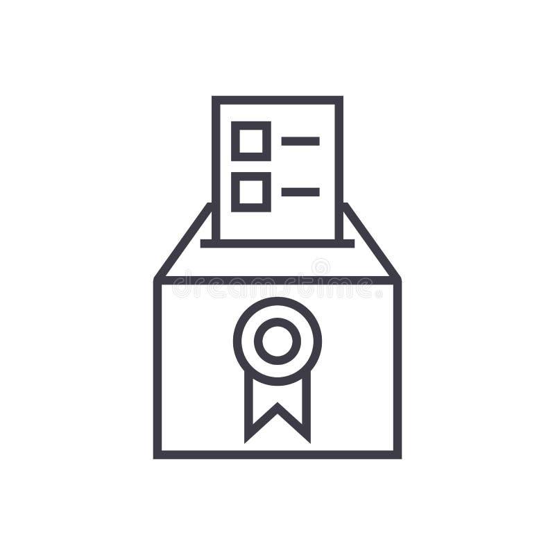 Voto, votante, elezioni, linea icona, segno, illustrazione di vettore di scrutinio su fondo, colpi editabili illustrazione vettoriale