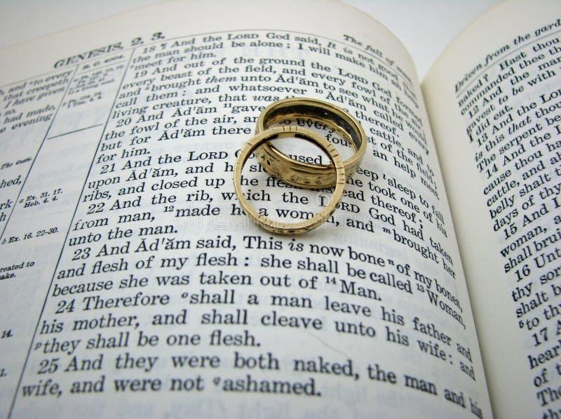 Voto y anillos de boda de la génesis imagen de archivo libre de regalías