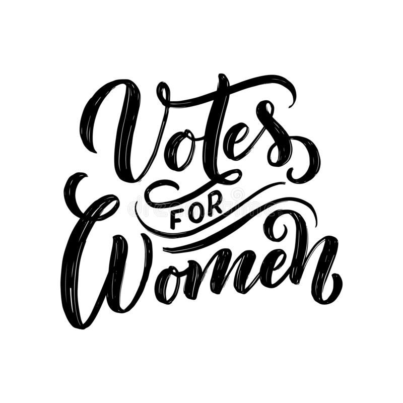 Votos para la mujer - letras de la cita Elemento de la tipograf?a del dise?o gr?fico de la inspiraci?n de la caligraf?a Postal es ilustración del vector