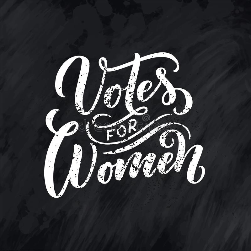 Votos para la mujer - letras de la cita Elemento de la tipograf?a del dise?o gr?fico de la inspiraci?n de la caligraf?a Postal es stock de ilustración