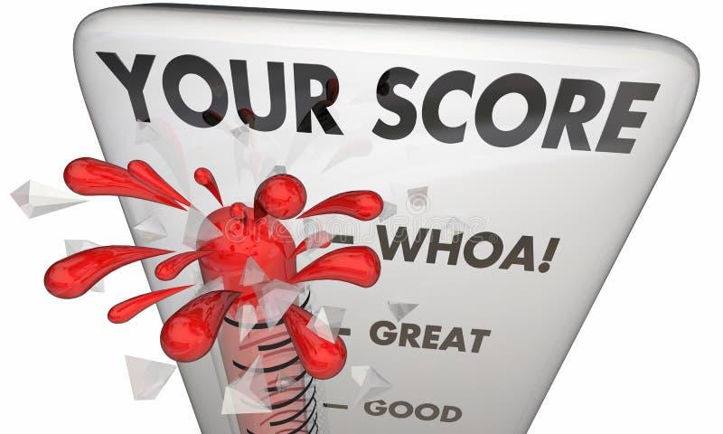 Votre gagnant de haut niveau de thermomètre de score illustration stock