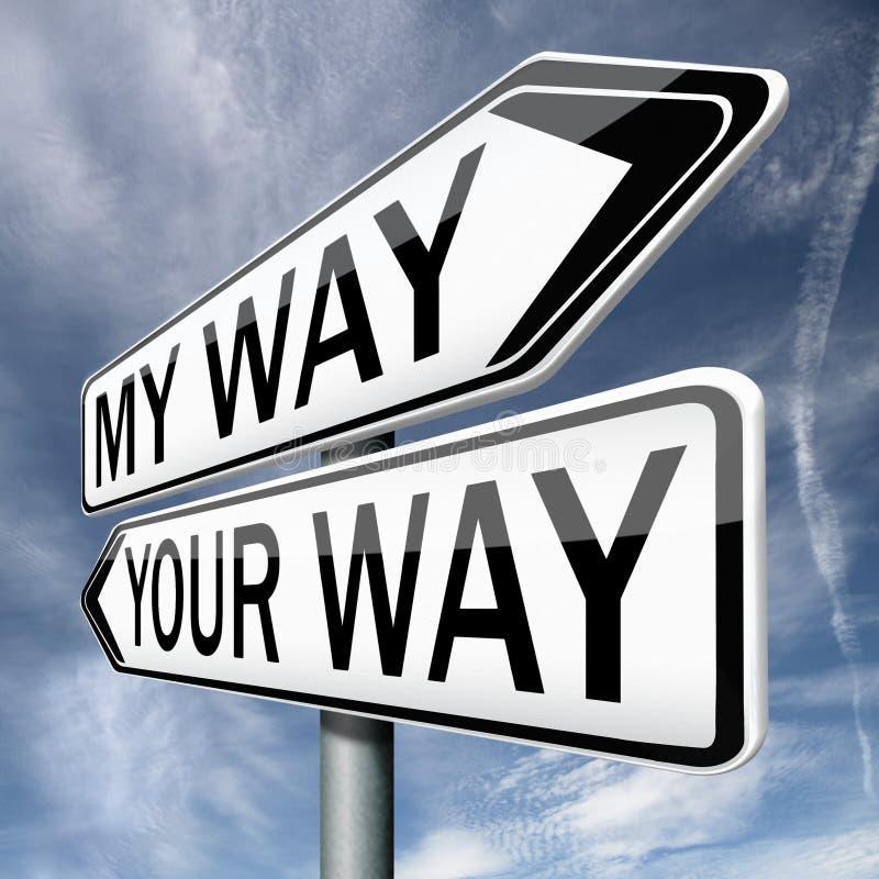 Votre ou ma flèche de panneau routier de manière images libres de droits