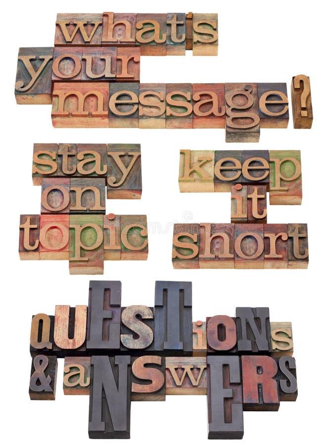 Votre question de message dans le type d'impression typographique photographie stock