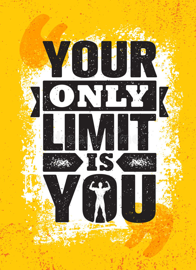 Votre seulement limite est vous Calibre créatif de inspiration d'affiche de citation de motivation Concept de construction de ban illustration libre de droits