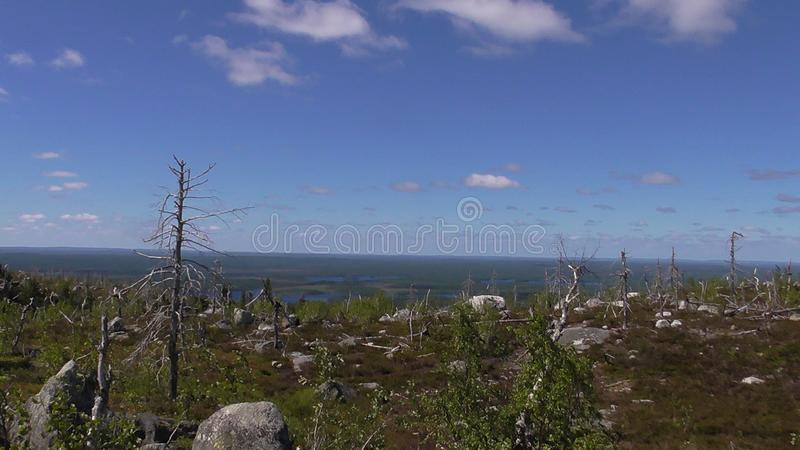 Vottovaara Karelia - Lake view from the top of the mountain 418 meters. Abnormal mountain in Karelia, ugly trees, mystical landscapes. There are more than one stock photo