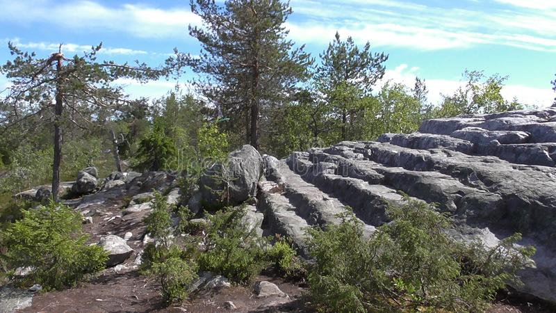 Vottovaara Karelia - stone stairway to heaven. Abnormal mountain in Karelia, ugly trees, mystical landscapes. There are more than one and a half thousand stone stock photos