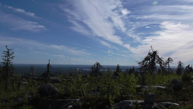 Vottovaara Karelia - view from the rock. Abnormal mountain in Karelia, ugly trees, mystical landscapes. There are more than one and a half thousand stone sades royalty free stock photo