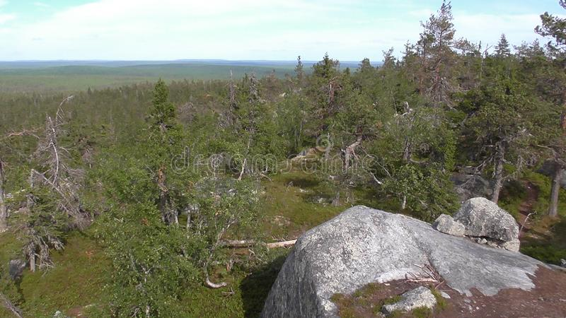 Vottovaara Karelia - view from the top of the rock. Abnormal mountain in Karelia, ugly trees, mystical landscapes. There are more than one and a half thousand royalty free stock image
