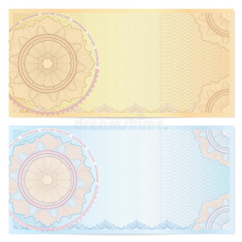 Voucher (coupon) template with guilloche pattern vector illustration