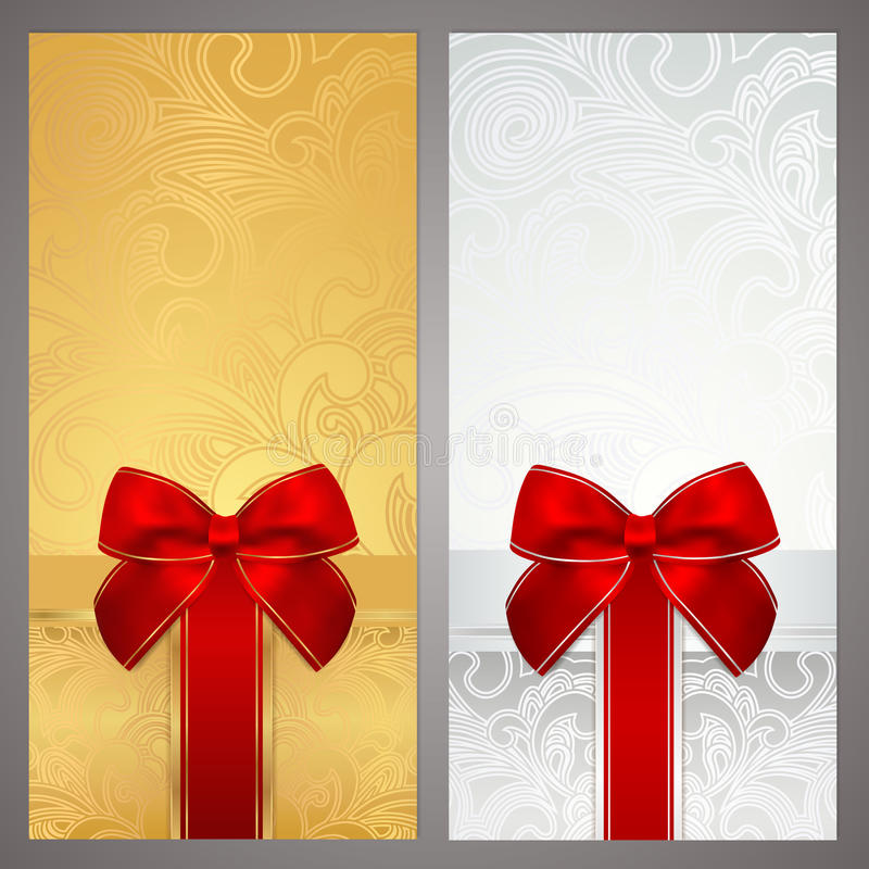 Free Voucher, Gift Certificate, Coupon. Boxes, Bow Royalty Free Stock Photography - 33194587