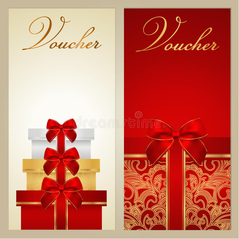 Voucher, Gift certificate, Coupon. Boxes, bow stock photos