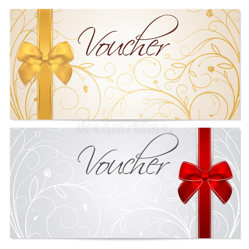 Free Voucher (Gift Certificate, Coupon) Template. Red B Stock Photos - 35510523