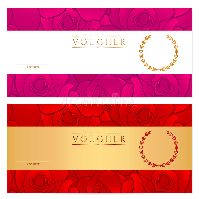 Voucher Gift Certificate Coupon Template Rose Stock Vector
