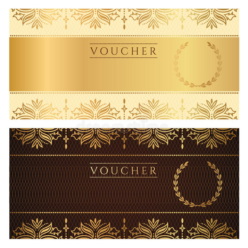 Free Voucher, Gift Certificate, Coupon, Ticket. Floral Stock Photos - 33188493