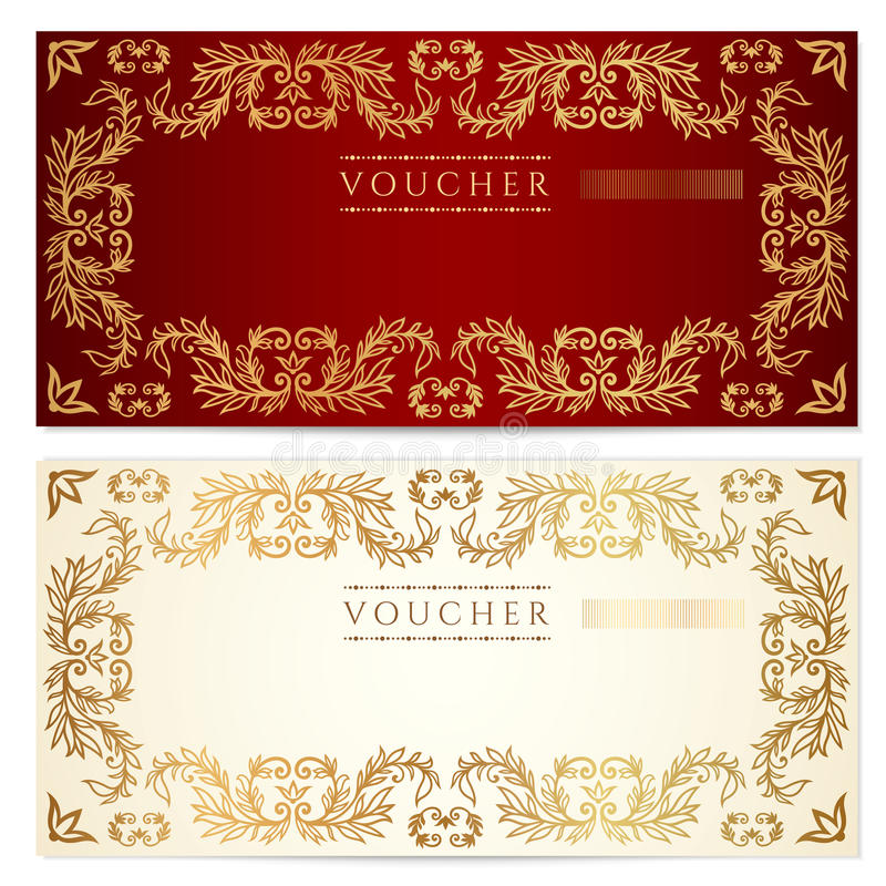 Voucher (gift certificate) template. Gold pattern vector illustration