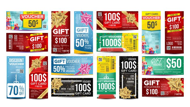 Voucher Gift Design Vector. Set Horizontal Vertical Gifts Banners. For Shopping Cards, Discount Coupon. Marketing royalty free illustration