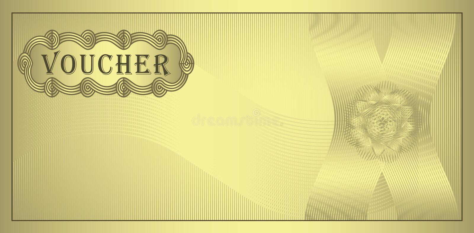 Voucher gold. Certificate coupon template