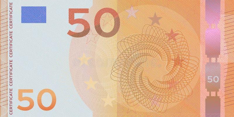 Voucher-mallsedel 50 euro med guillocherade vattenmärken och gräns Orange bakgrundssedel, presentkupong, kupong. royaltyfri foto