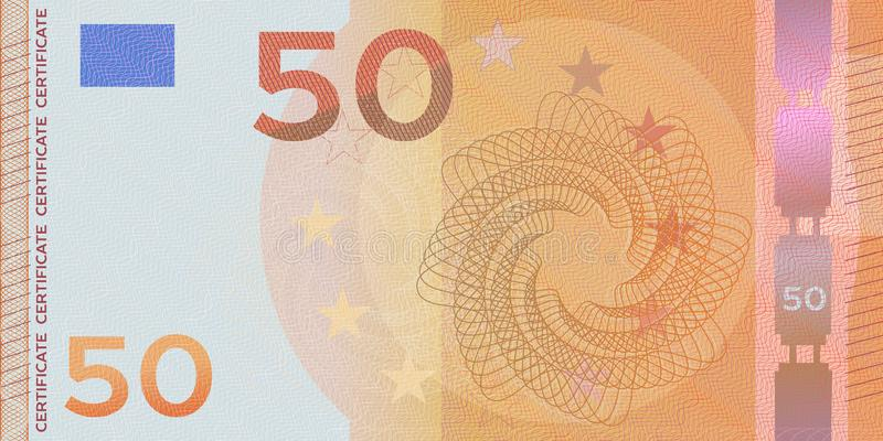 Voucher template banknote 50 euro with guilloche pattern watermarks and border. Orange background banknote, gift voucher, coupon, royalty free stock photo