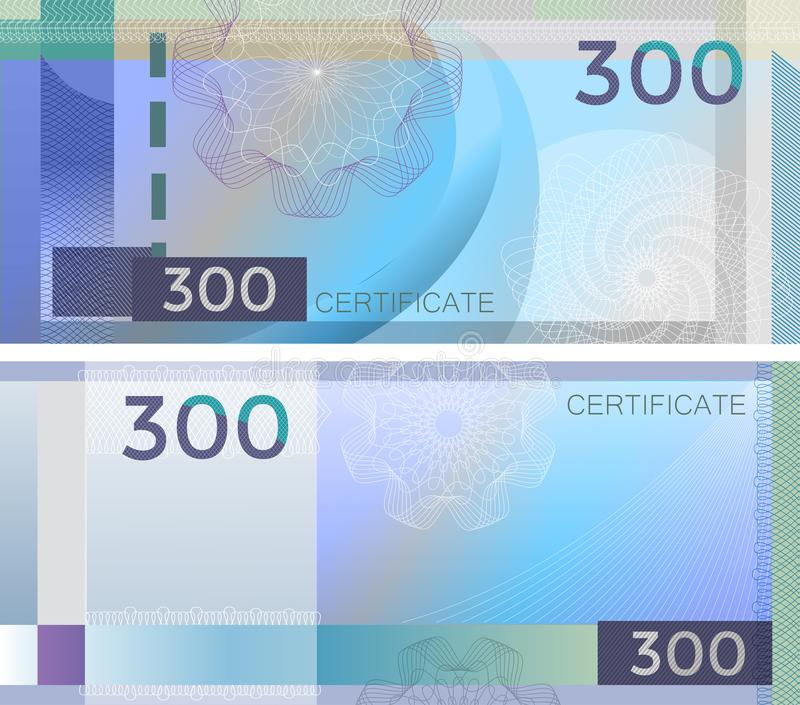 Voucher template banknote 300 with guilloche pattern watermarks and border. Blue background banknote, gift voucher, coupon, vector illustration