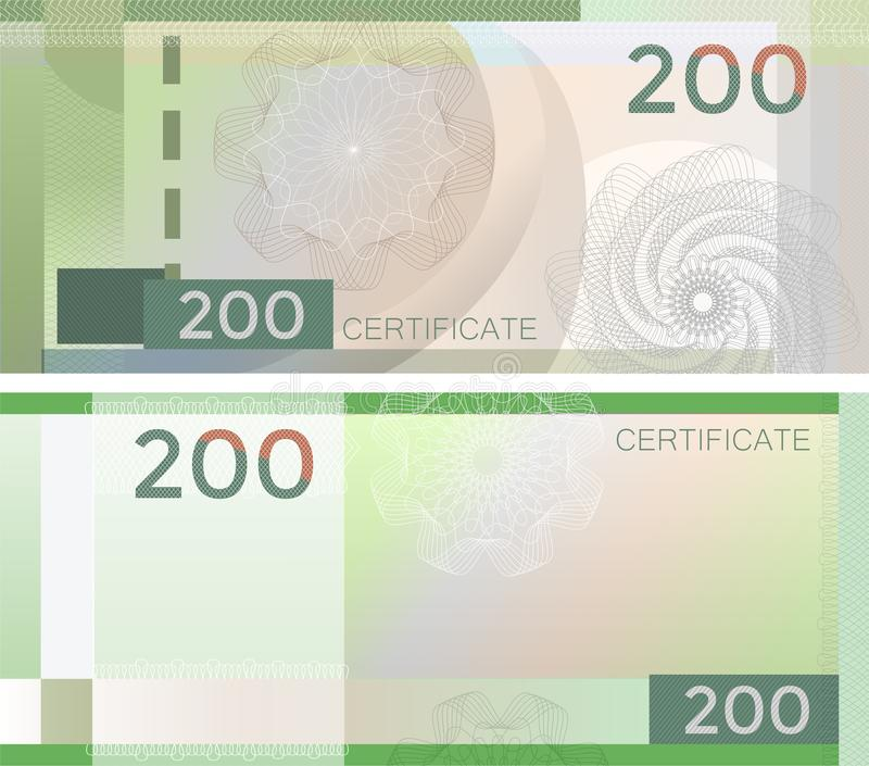 Voucher template banknote 200 with guilloche pattern watermarks and border. Green background banknote, gift voucher, coupon, royalty free illustration