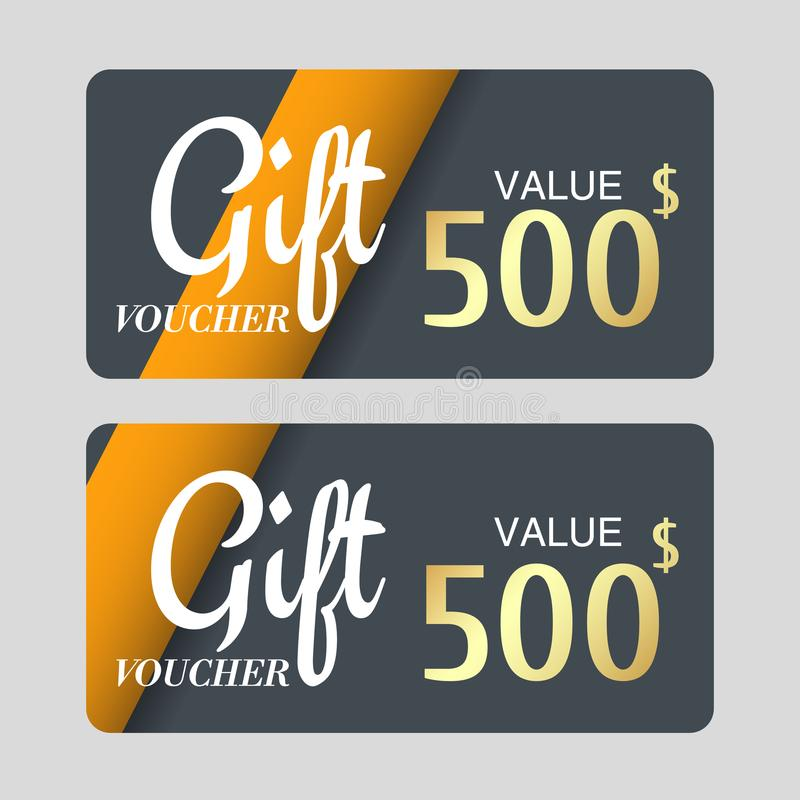 Voucher template with gold design,certificate. Background coupon clean and modern pattern. vector illustration