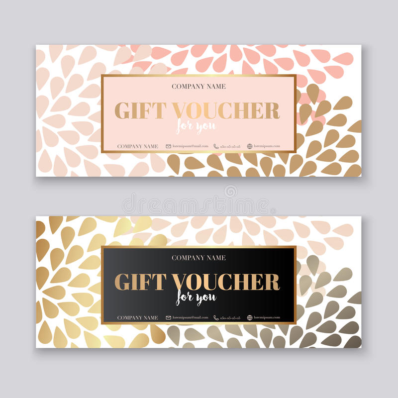 Voucher template with gold gift box,certificate. Background design coupon, invitation, currency. Vector illustration.. royalty free illustration