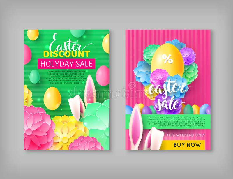 Vouchers easter sale discount vector illustration