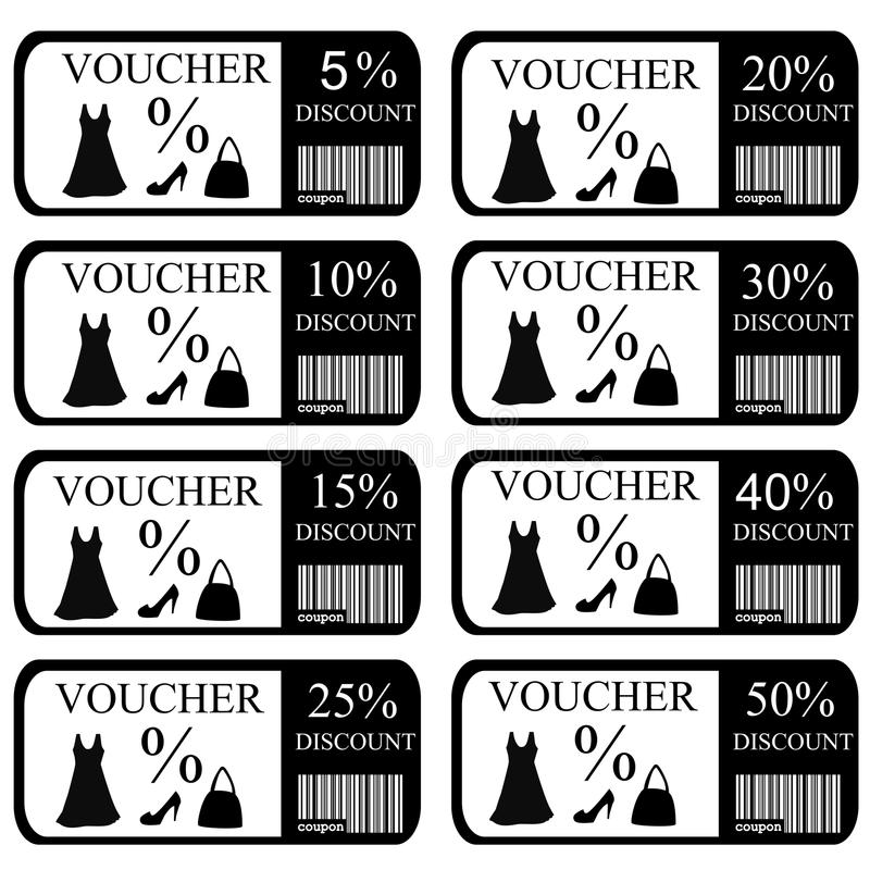 Vouchers set for women clothes and accessories stock illustration