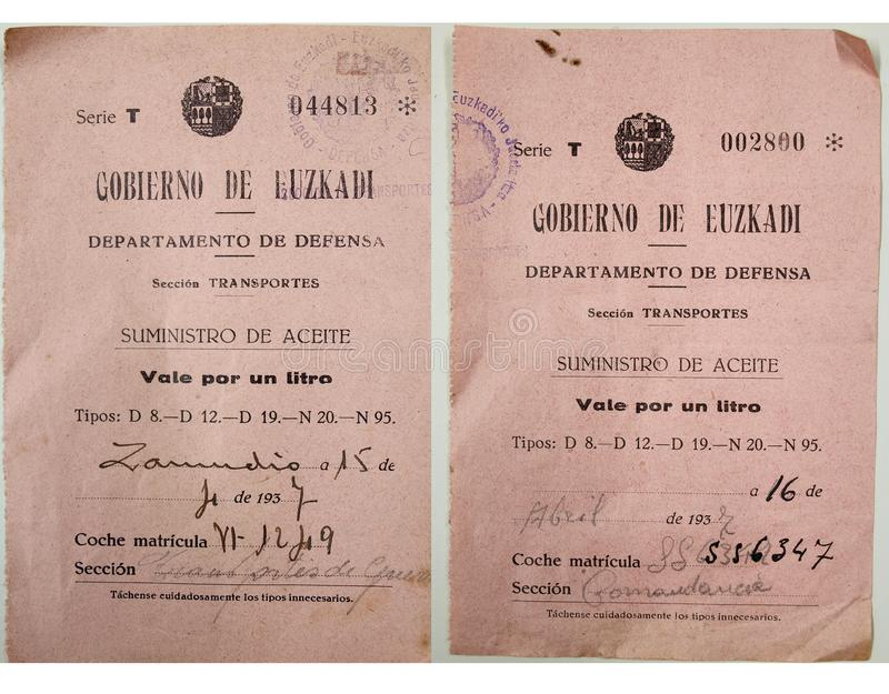 Vouchers to supply a liter of oil from the Government of Euzkadi. Spanish civil war. Vouchers to supply one liter of oil from the Department of Defense, Zamudio stock image