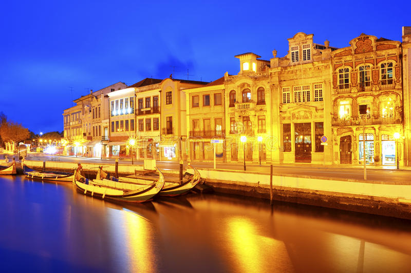 The Vouga river with Moliceiro boats, Aveiro. Portugal stock images