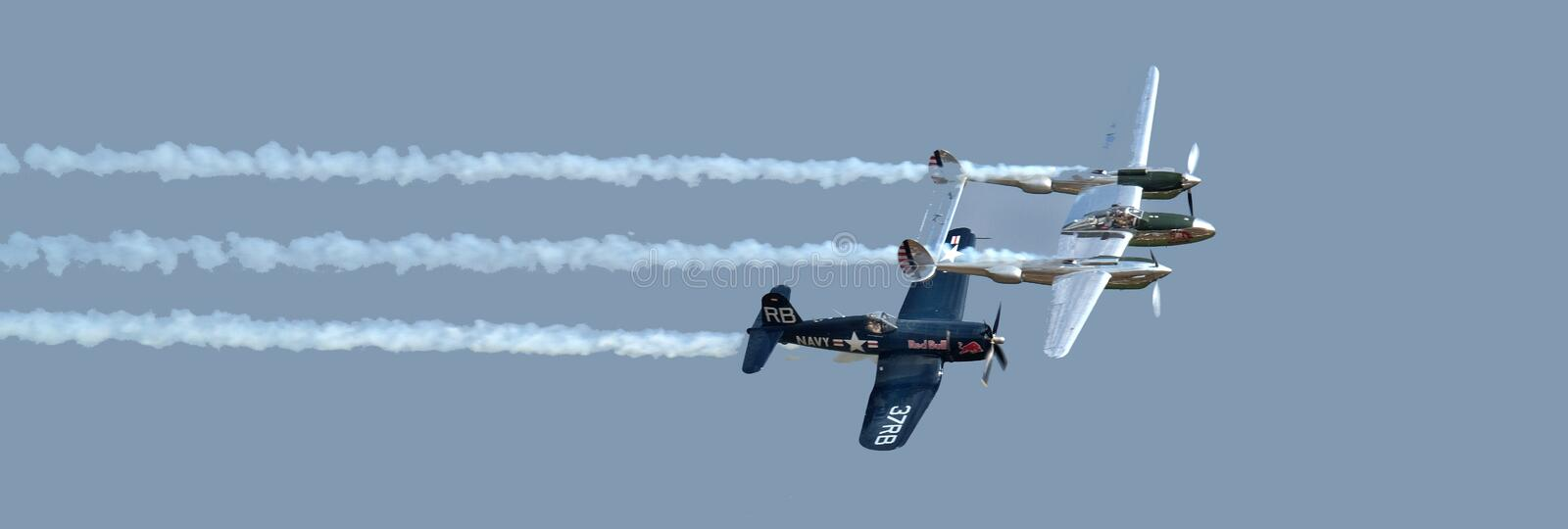 Vought Corsair F4U and Lockheed lightning. royalty free stock images
